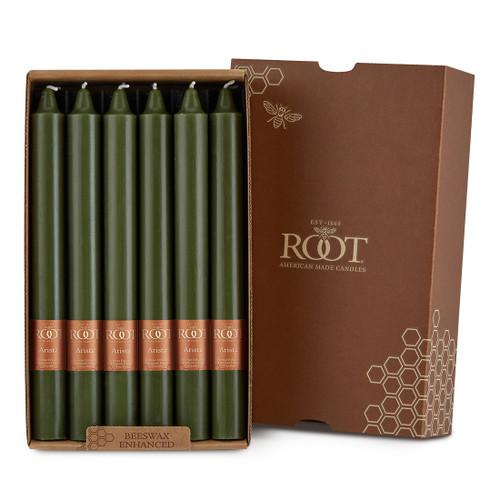 "Smooth 9"" Arista™ Dark Olive Box of 12 Candles"