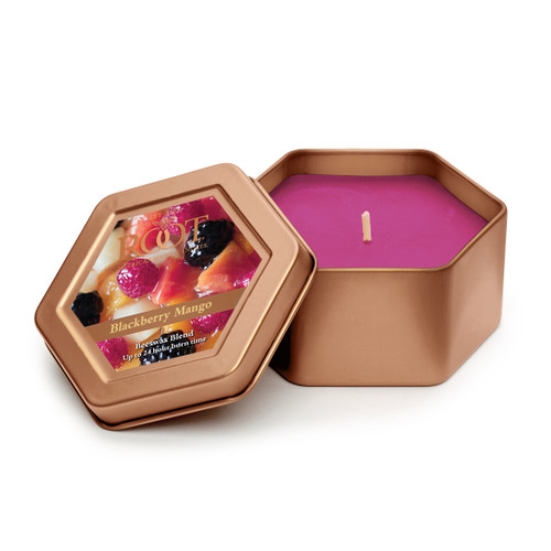 Blackberry Mango - Ripe, sugared blackberry with sweet pineapple and mango nectar blended with macintosh apple, mandarin orange, white peach finished with bright plumeria blossoms and end on notes of sweet pea and sheer musk.