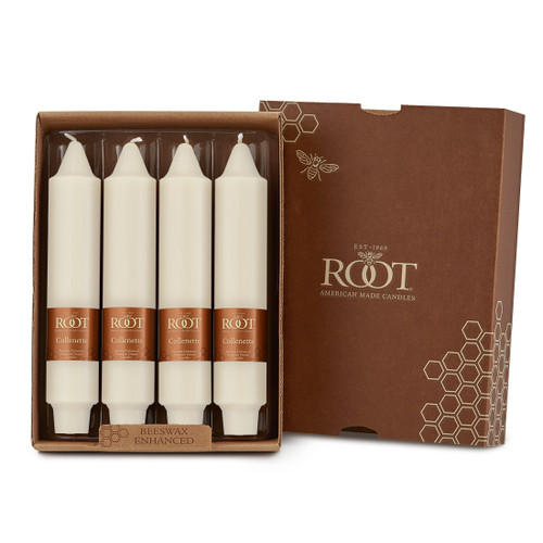 """7"""" Smooth Collenette Ivory Box of 4 Candles"""