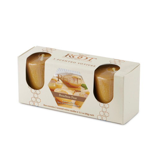 Bourbon Pear 20 Hour Beeswax Blend Votive 3 Pack