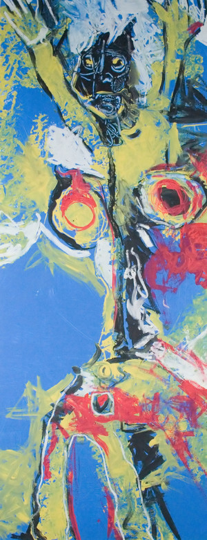 """Acrylic and Oil on Matboard.  Framed.  42 x 18"""""""