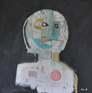"""Acrylic, Oil Stick, Pastel Crayon, Pencil, Pen and Collage on Canvas.  Gallery wrapped.  30 x 30"""""""