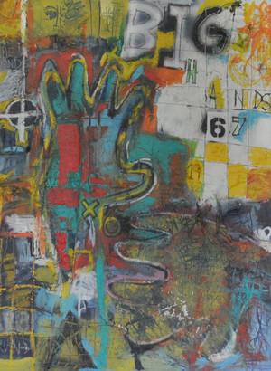 "Acrylic and Spray Paint on Foam Board.  Unframed.  40 x 30"""