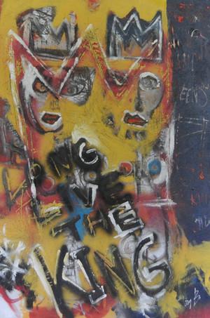 """Acrylic, Oil Stick and Spray Paint on canvas.  Unframed.  36 x 24"""""""