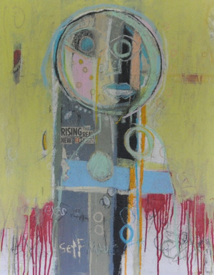 """Acrylic, Oil Stick, colored Pencil, Pen and Collage on Canvas.  Framed.  30 x 24"""""""