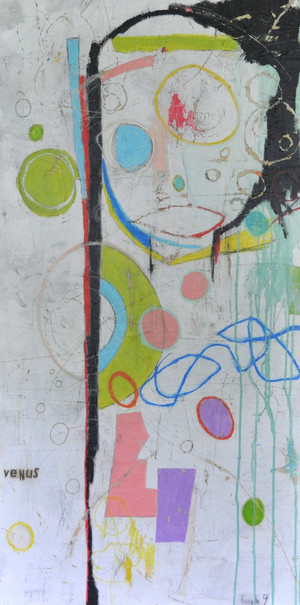 """Acrylic and Oil Stick on Canvas.  Gallery Wrapped.  48 x 24"""""""