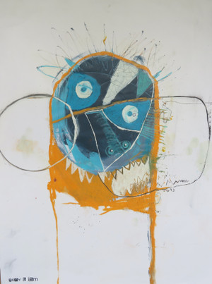 Angry Boy - Mixed Media on Unstretched Canvas, 18 x 24