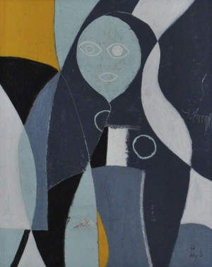 Lady in Blue - Mixed Media on Canvas.  Unframed.  20 x 16""