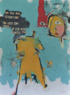 "Separation - Acrylic & Oil Stick on Canvas.  Framed.  52 x 39 1/2"""