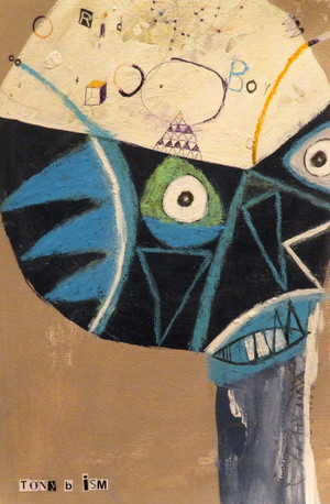 """Rid The Boy - Mixed Media on Unstretched Canvas, 11 1/8 x 7 3/4"""""""