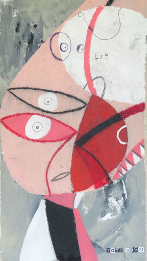 """I Got My Eyes On You - Mixed Media on Unstretched Canvas, 8 1/2 x 15"""""""