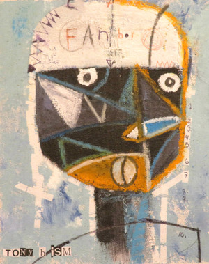 """Fan Boy - Mixed Media on Unstretched Canvas, 7 x 8"""""""