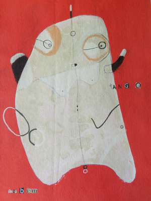 Tango - Acrylic & Graphite Pencil on Canvas Panel, 13 1/2 x 10 1/8""