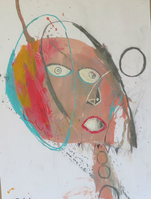 """Rocking The Hair - Mixed Media on Paper, 14 3/4 x 19 1/4"""""""