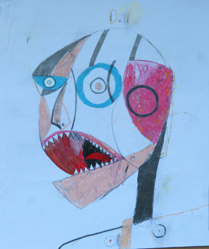 Baby Doll Mad - Mixed Media on Paper, 15 1/8 x 17 1/2""