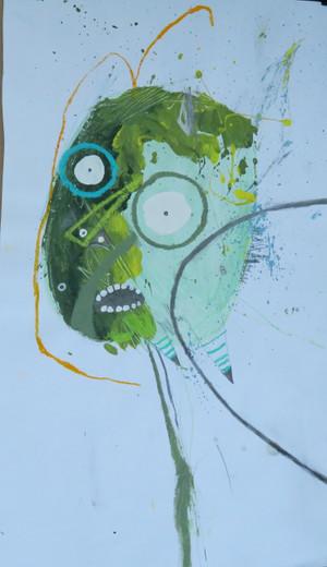 """Beady Eyes - Mixed Media on Paper, 10 1/2 x 18 3/8"""""""