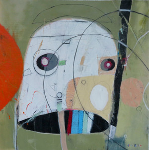 """Big Fake - Mixed Media on Unstretched Canvas, 22 x 21 7/8"""""""