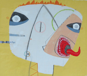 """Boggyman - Mixed Media on Unstretched Canvas , 12 3/4 x 11 1/4"""""""