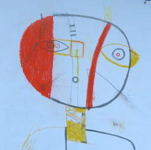 "Boy - Mixed Media on Paper , 14 x 14"""