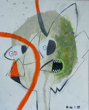 """Boy Oh Boy - Mixed Media on Unstretched Canvas, 14 x 17"""""""