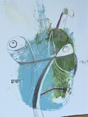 "Crazy Eyes #2 - Mixed Media on Heavy Cardstock, 10 5/8 x 13 1/2"""