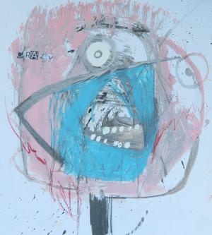 """Crazy Man - Mixed Media on Heavy Cardstock, 10 x 11 3/8"""""""