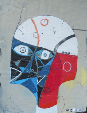"""Crazy Man In The Other Room, The - Mixed Media on Unstretched Canvas , 13 3/4 x 17 3/4"""""""
