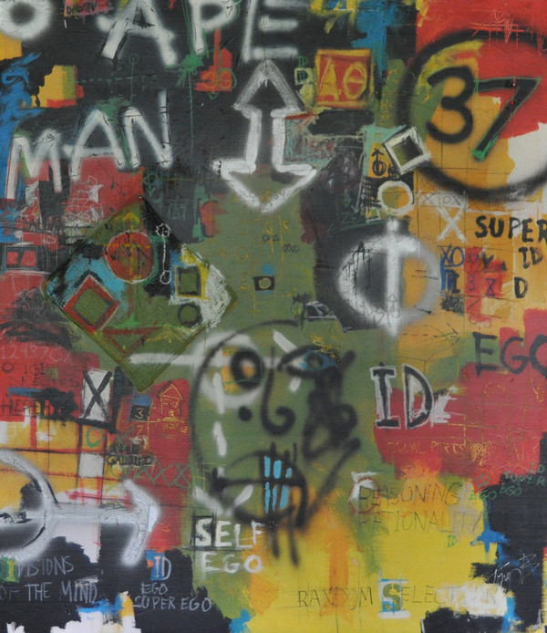 Acrylic, Oil and Spray Paint on Foamboard.  Unframed.  48 x 41 1/2
