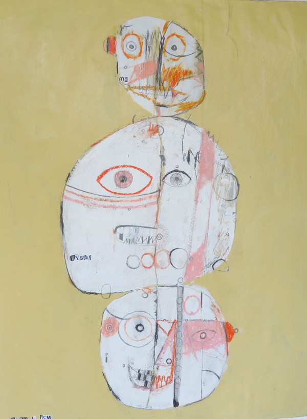 "Me, Myself, i - Mixed Media on Canva Paper, 22 x 16 1/4"""