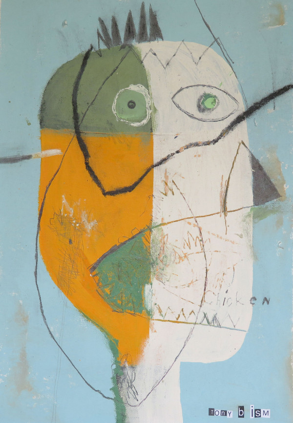 Winner, Winner…Chicken Dinner - Mixed Media on Unstretched Canvas, 11 3/4 x 17""