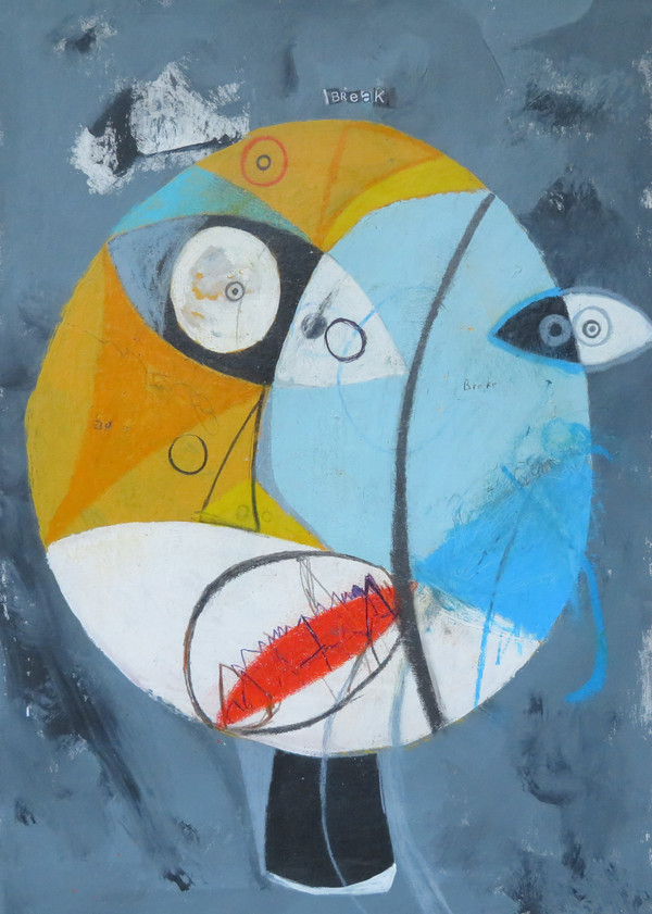 """Crazy Man In The Other Room, The - Mixed Media on Unstretched Canvas , 15 x 21 1/2"""""""