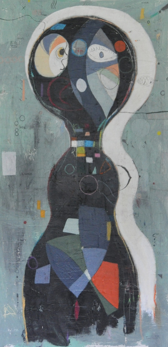 """Acrylic, Oil Stick, Colored Pencil and Pen on Canvas.  48 x 24"""""""