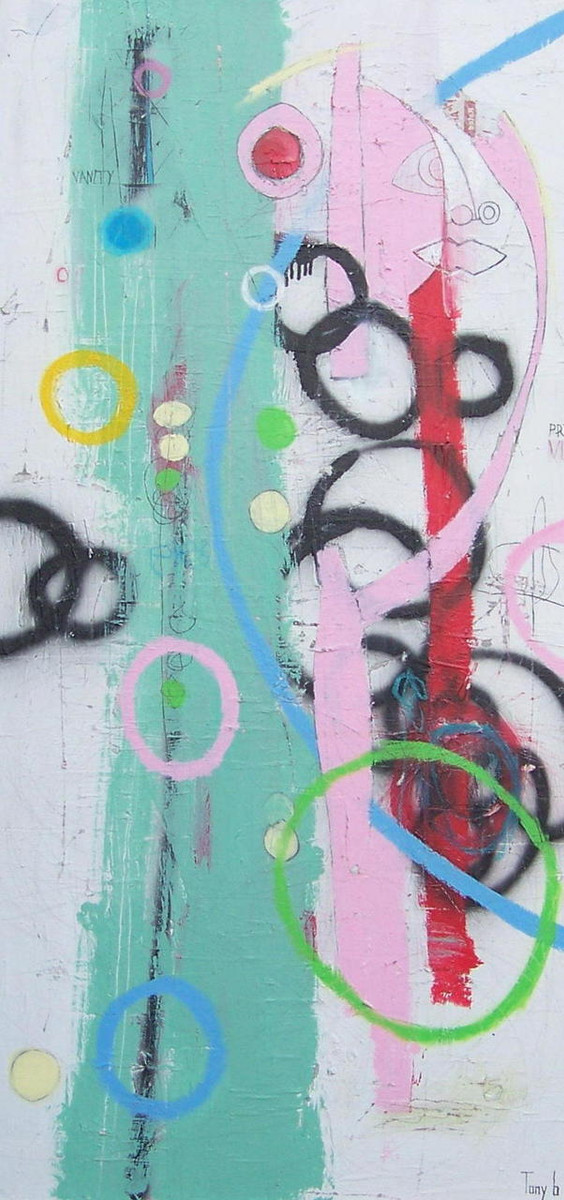 """Vanity - Acrylic, Pastel and Oil  on Canvas - Gallery Wrapped, 48 x 24"""""""