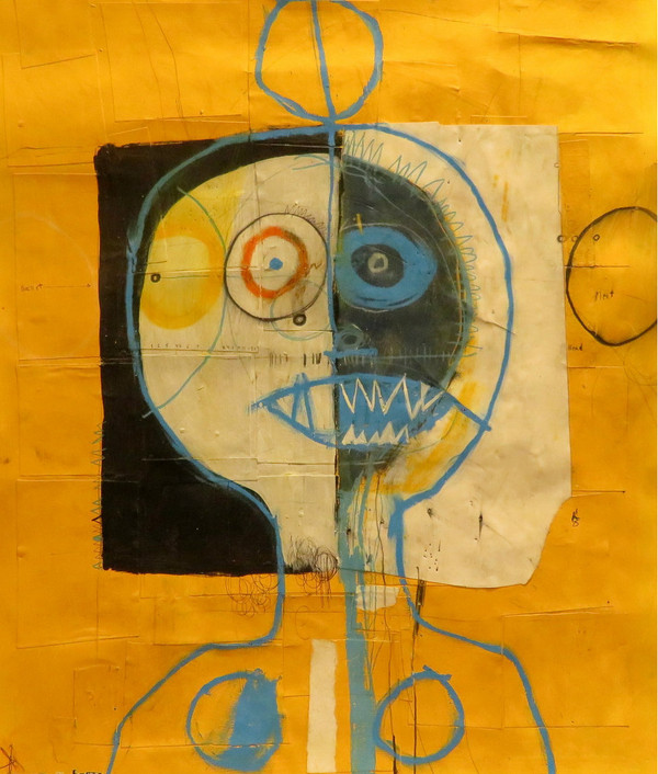 """Meat Head - Mixed Media on Paper, 19 5/8 x 21 3/4"""""""
