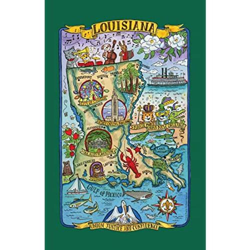 Poster Style Tea Towel - Louisiana