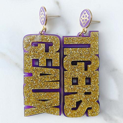 Gold Glitter GEAUX TIGERS Earrings over Purple with Purple Logo Top