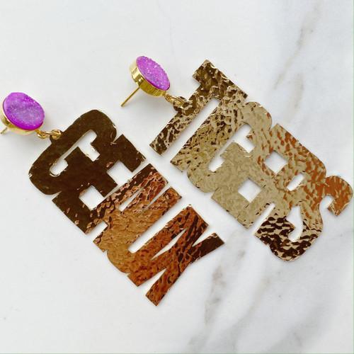 """LSU Earrings Gold """"Geaux Tigers"""""""