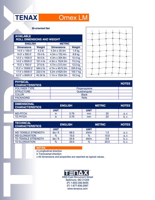 Tenax Ornex LM specification
