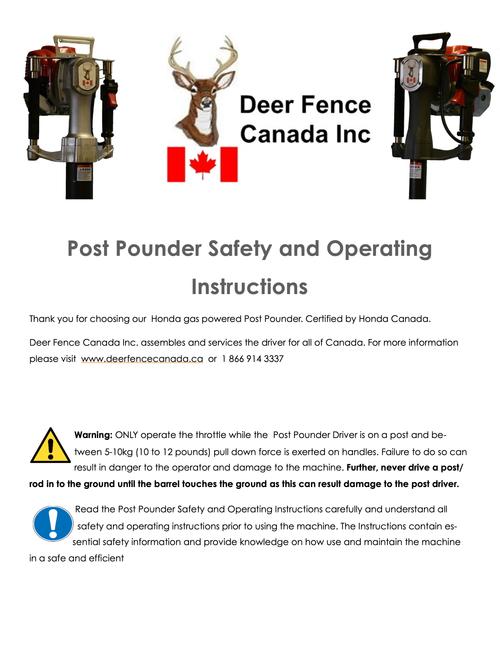 Post Pounder User na Safety Manual