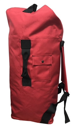Red Top Loading Military Duffle Bag