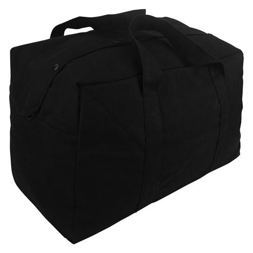 Black Canvas Parachute Cargo Bag
