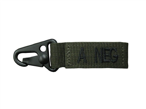 Set Of 2 Olive Drab Blood Type Tags (A Negative)