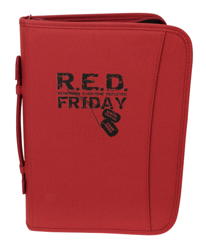 Red Friday Zippered 3 Ring Binder And Padfolio