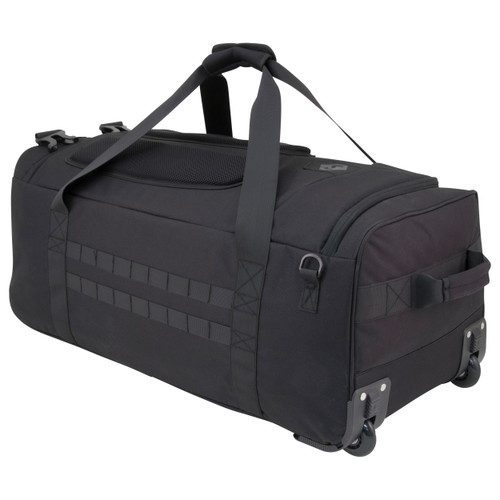 Black Collapsible Wheeled Campaign Deployment Bag With Backpack Straps