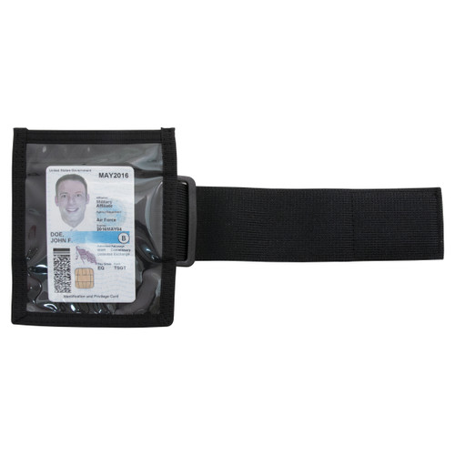 Black ID Armband With Elastic Strap