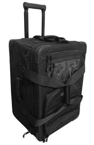 Black 22 Inch Rolling Bag With Retractable Handle By Cougar Tactical