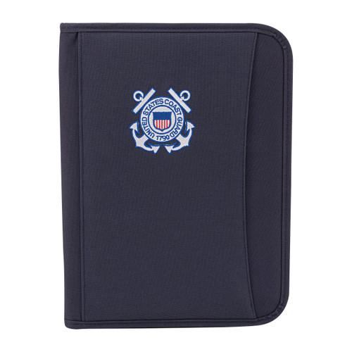 Navy Blue Zippered Padfolio With Coast Guard Logo