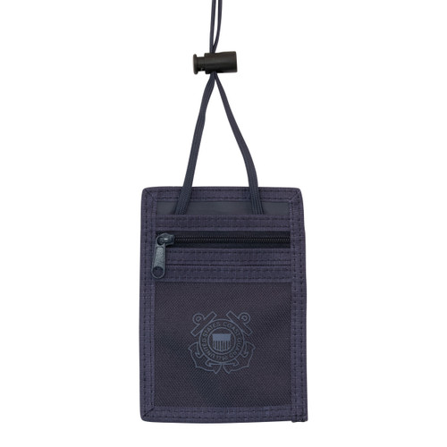 Navy Blue Neck ID Holder With Coast Guard Logo