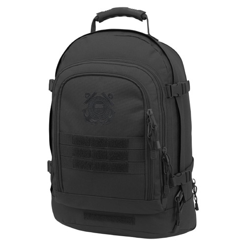 Black Three Day Stretch Backpack With Coast Guard Logo