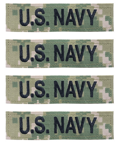 U.S. Navy Branch Name Tapes (Set Of 4) With Hook Backing